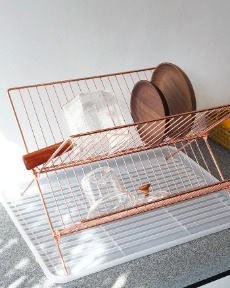 Metal folding dish rack
